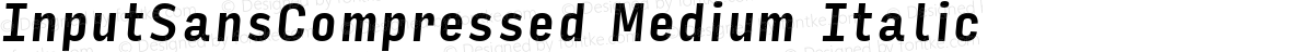 InputSansCompressed Medium Italic