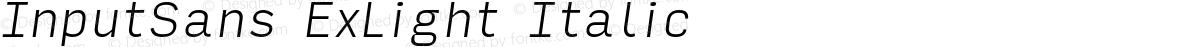 InputSans ExLight Italic