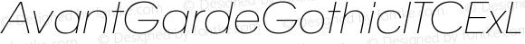 AvantGardeGothicITCExLtItalW08 Regular Version 1.10