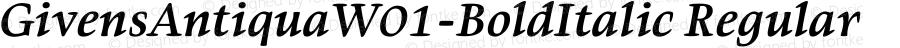 GivensAntiquaW01-BoldItalic Regular Version 1.01