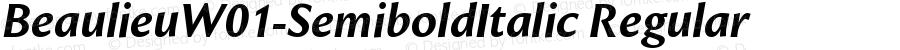 BeaulieuW01-SemiboldItalic Regular Version 1.00