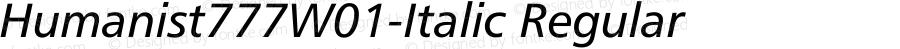 Humanist777W01-Italic Regular Version 1.00