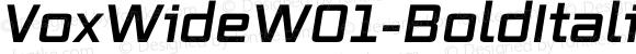 VoxWideW01-BoldItalic Regular Version 2.30