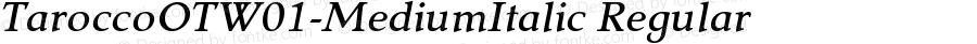 TaroccoOTW01-MediumItalic Regular Version 2.10