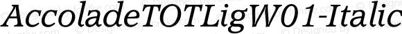 AccoladeTOTLigW01-Italic Regular Version 1.00