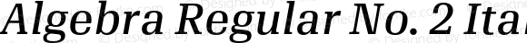 Algebra Regular No. 2 Italic