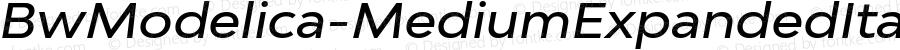 BwModelica-MediumExpandedItalic ☞ Version 2.000;com.myfonts.easy.branding-with-type.bw-modelica-expanded.medium-expanded-italic.wfkit2.version.4FVx