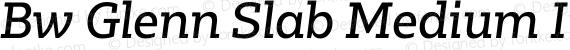 Bw Glenn Slab Medium Italic Regular preview image