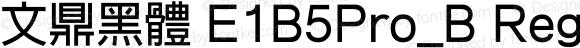 文鼎黑體 E1B5Pro_B Regular Version 1.00