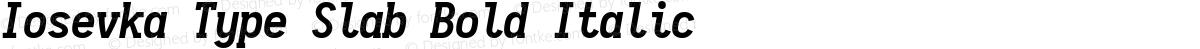Iosevka Type Slab Bold Italic