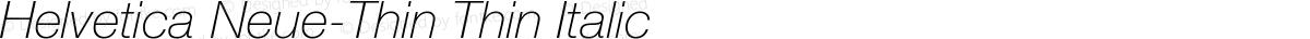 Helvetica Neue-Thin Thin Italic