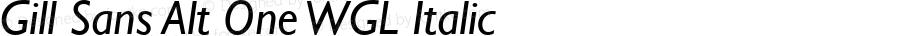Gill Sans Alt One WGL Italic Version 2.11