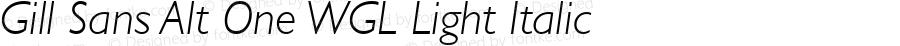 Gill Sans Alt One WGL Light Italic Version 2.11
