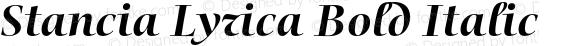 Stancia Lyrica Bold Italic Version 001.001