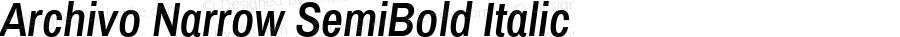 Archivo Narrow SemiBold Italic Version 1.010