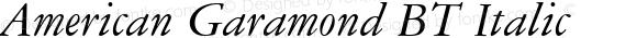 American Garamond BT Italic spoyal2tt v1.21