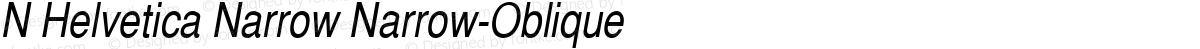 N Helvetica Narrow Narrow-Oblique