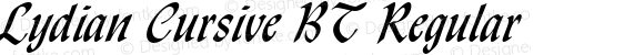 Lydian Cursive BT Regular spoyal2tt v1.34