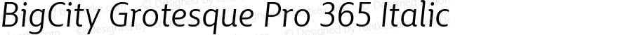 BigCity Grotesque Pro 365 Italic Version 1.0