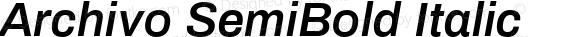 Archivo SemiBold Italic Version 1.0