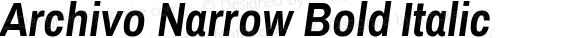 Archivo Narrow Bold Italic Version 1.0