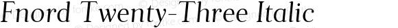 Fnord Twenty-Three Italic
