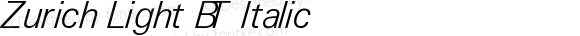 Zurich Light BT Italic V1.00