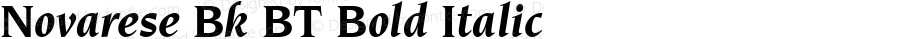 Novarese Bk BT Bold Italic Version 2.1
