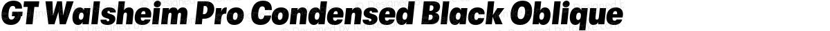 GT Walsheim Pro Condensed Black Oblique