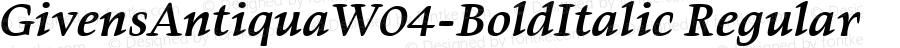 GivensAntiquaW04-BoldItalic Regular Version 1.00