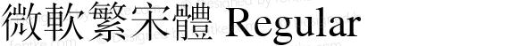 微软繁宋体 Regular version 1.0