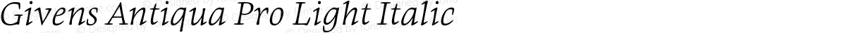 Givens Antiqua Pro Light Italic