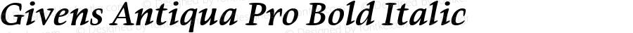 Givens Antiqua Pro Bold Italic Version 1.00
