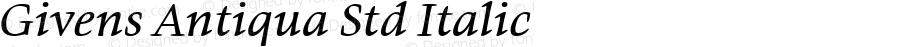 Givens Antiqua Std Italic Version 1.00