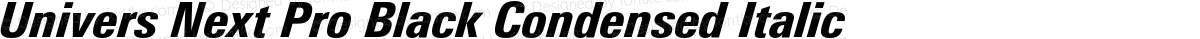 Univers Next Pro Black Condensed Italic
