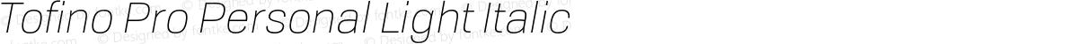 Tofino Pro Personal Light Italic