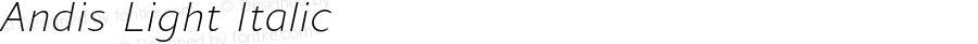 Andis Light Italic Version 2.000;PS 002.000;hotconv 1.0.88;makeotf.lib2.5.64775