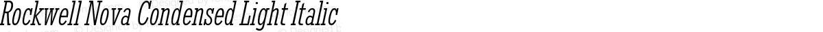 Rockwell Nova Condensed Light Italic