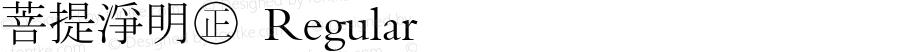 菩提淨明㊣ Regular 基于真宗聖典明朝體(全)修訂,採用宋體間距,修訂少數字,橫排標點置左下,豎排標點置中,28291字,舊字形。2017.12.19慕蓮齋誌