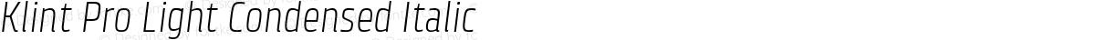 Klint Pro Light Condensed Italic
