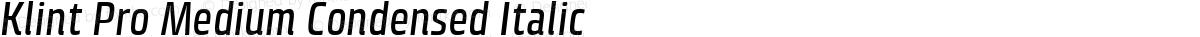 Klint Pro Medium Condensed Italic