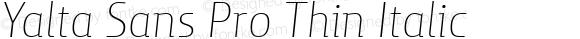 Yalta Sans Pro Thin Italic
