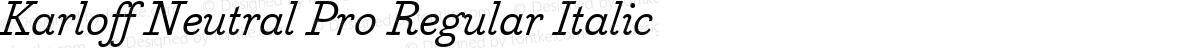Karloff Neutral Pro Regular Italic