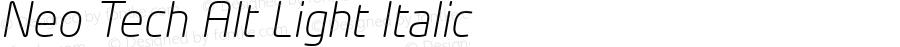 Neo Tech Alt Light Italic Version 1.00