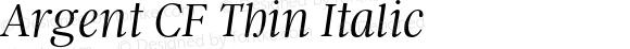 Argent CF Thin Italic