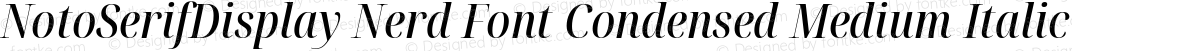 NotoSerifDisplay Nerd Font Condensed Medium Italic