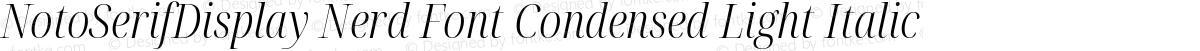 NotoSerifDisplay Nerd Font Condensed Light Italic