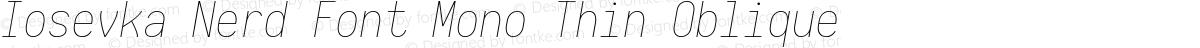 Iosevka Nerd Font Mono Thin Oblique