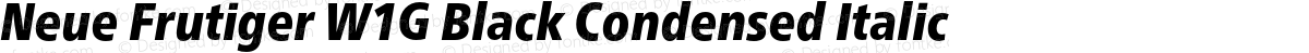 Neue Frutiger W1G Black Condensed Italic