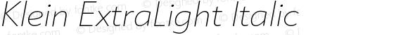 Klein ExtraLight Italic